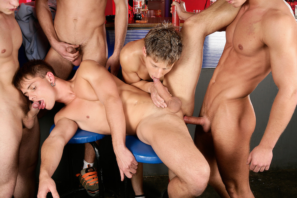Coming Soon on Staxus: Bareback gay orgy in a classic remastered scene