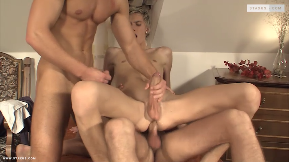 Coming Soon on Staxus: Hung twink bottom gets a lot of cock in this remastered bareback threesome