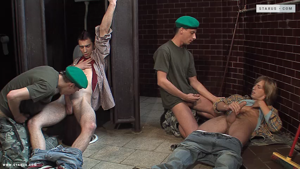 Coming Soon on Staxus: Kent Roth, David Dave, Johny Hunter and Denis Reed in a gay military fourgy